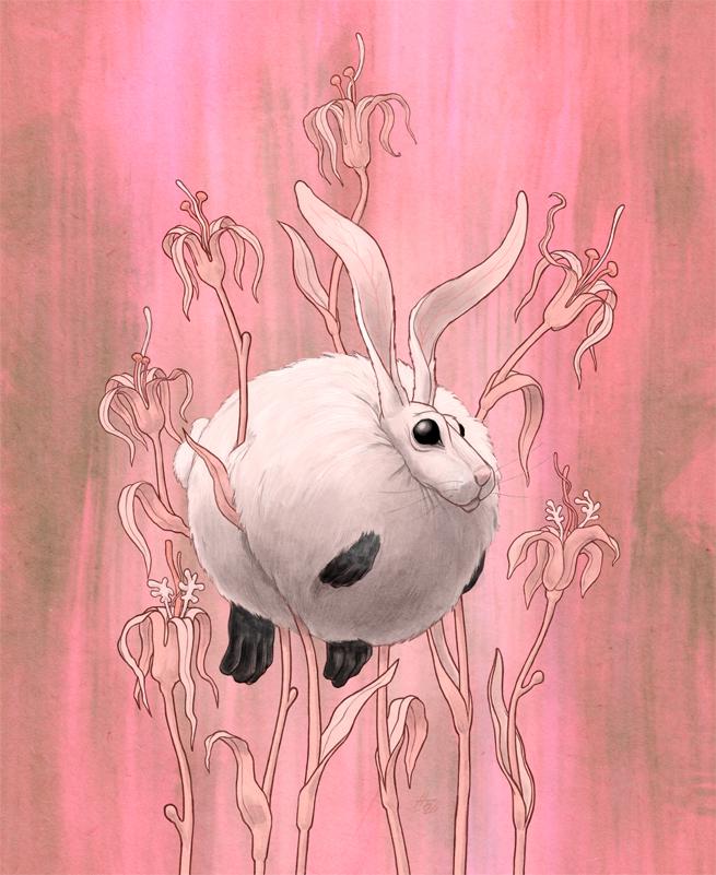 pink flowers rabbit